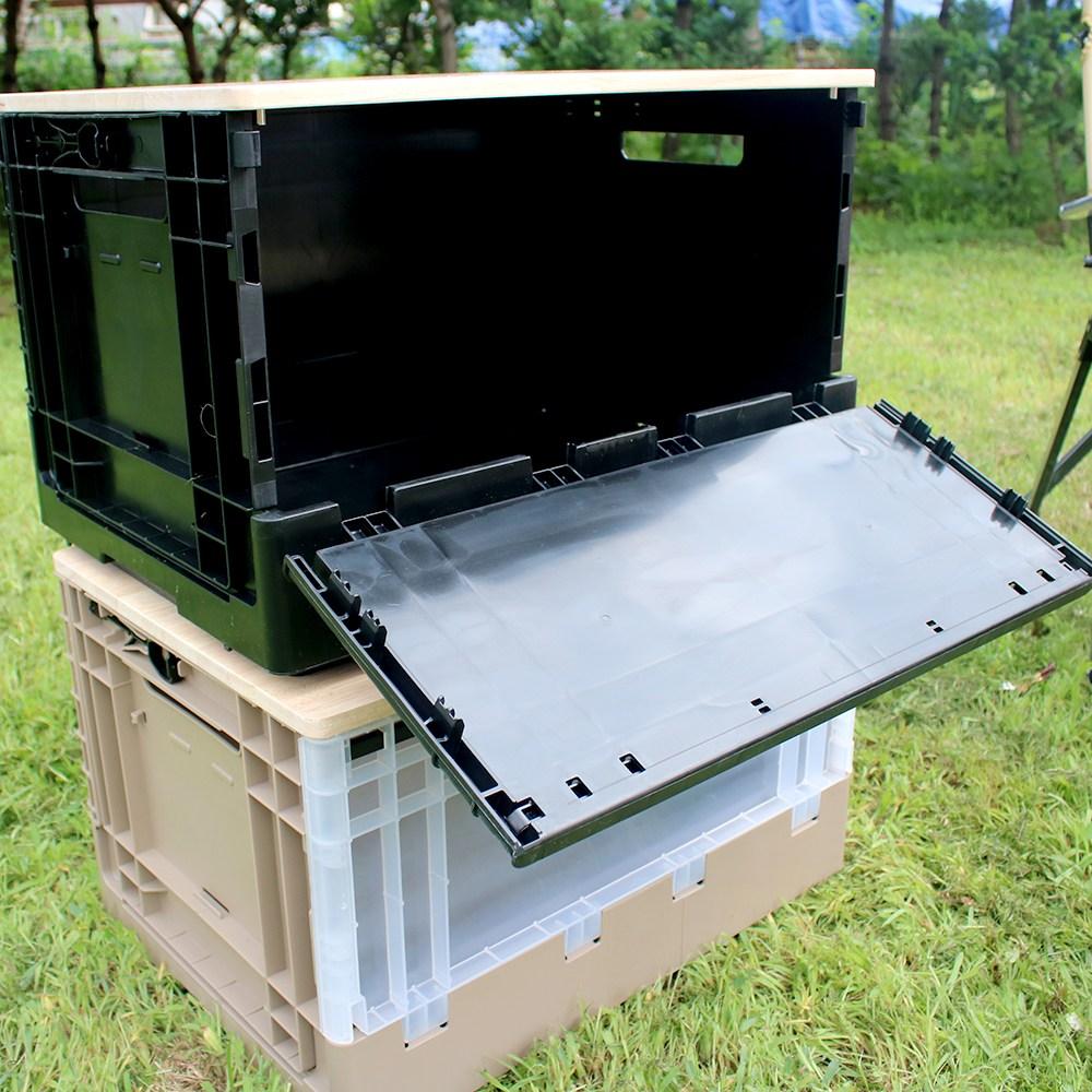 에이원플러스 캠핑 폴딩박스 원목상판 테이블 전면오픈, 오픈도어 폴딩박스 블랙