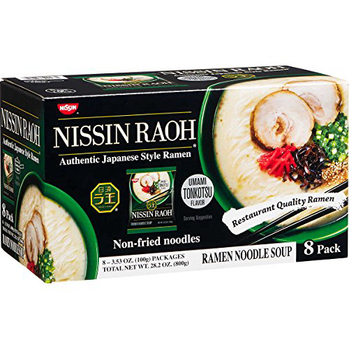 Nissin RAOH Best Selling Premium Japanese Ramen Noodles Umami Tonkotsu 3.53 oz 8 ct Nissin RAOH B, 1