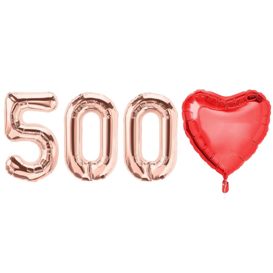 고백하는날 은박 숫자 이니셜 백일상 100일 기념일 하트 풍선세트, 1세트, 로즈골드500일♥