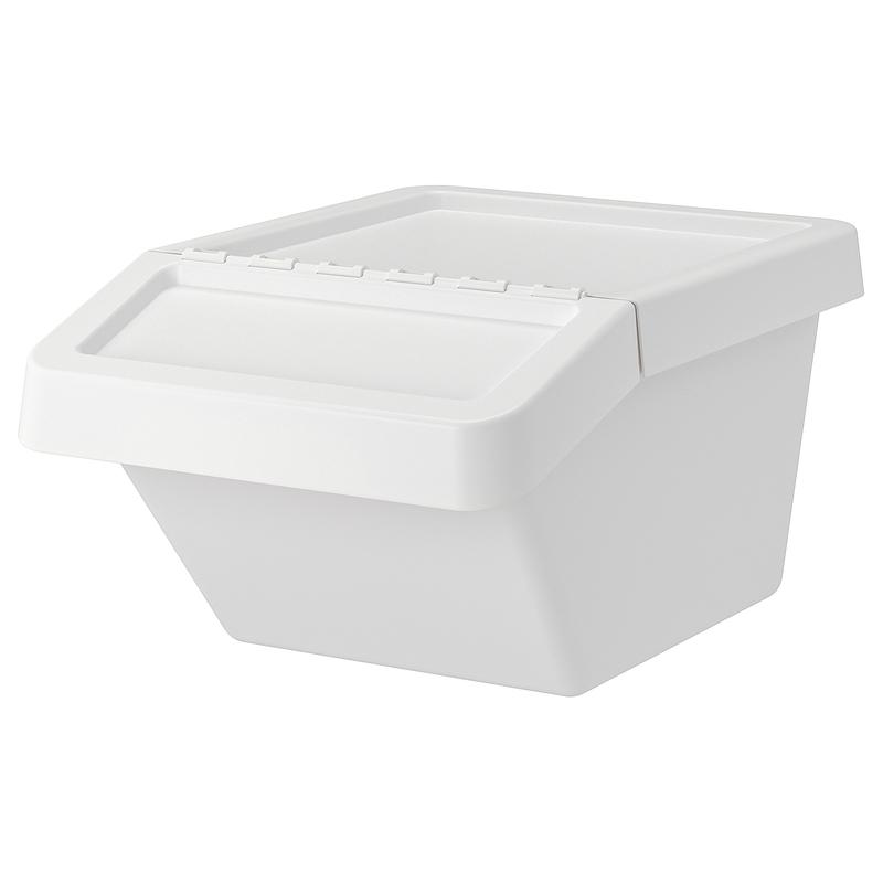 분리수거함 IKEA IKEA SORTERA 분리 수거함 + 뚜껑 부착 분리 수거함 보관함 화이트, 01 화이트 37 리터