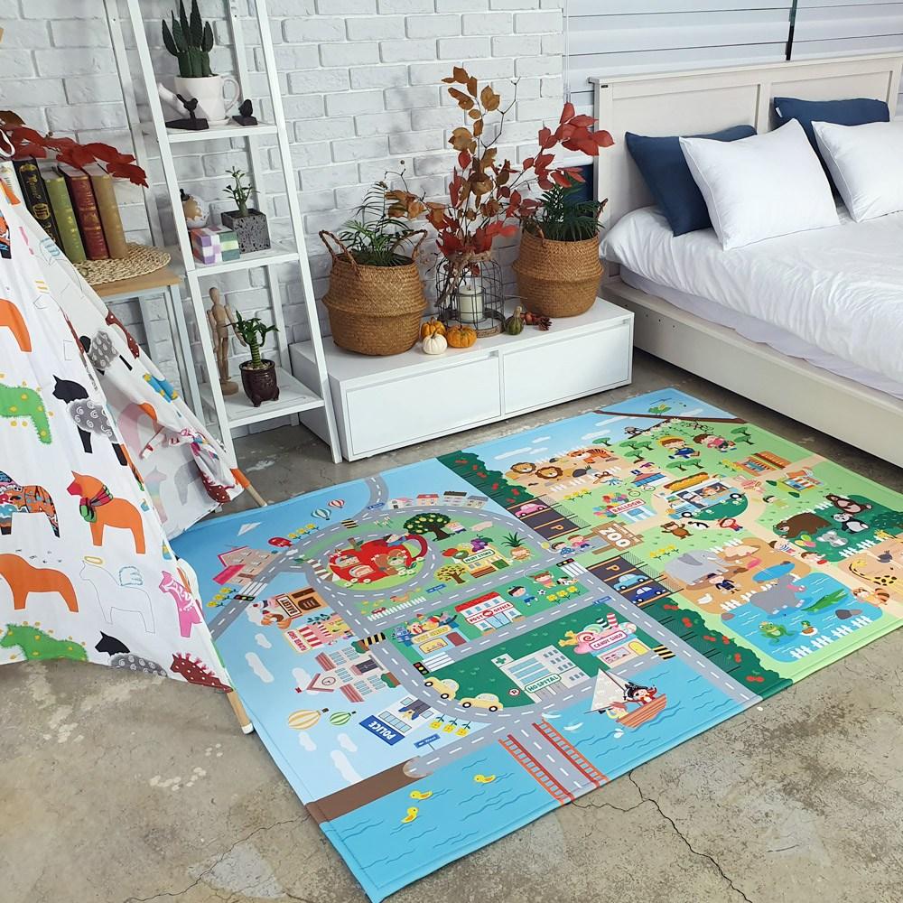 더블에스러그 주파크 키즈러그 도로 아이방 러그 놀이매트, 단일색상