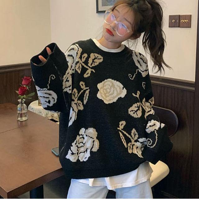 하민 빈티지 로즈 꽃 니트 스웨터 탑