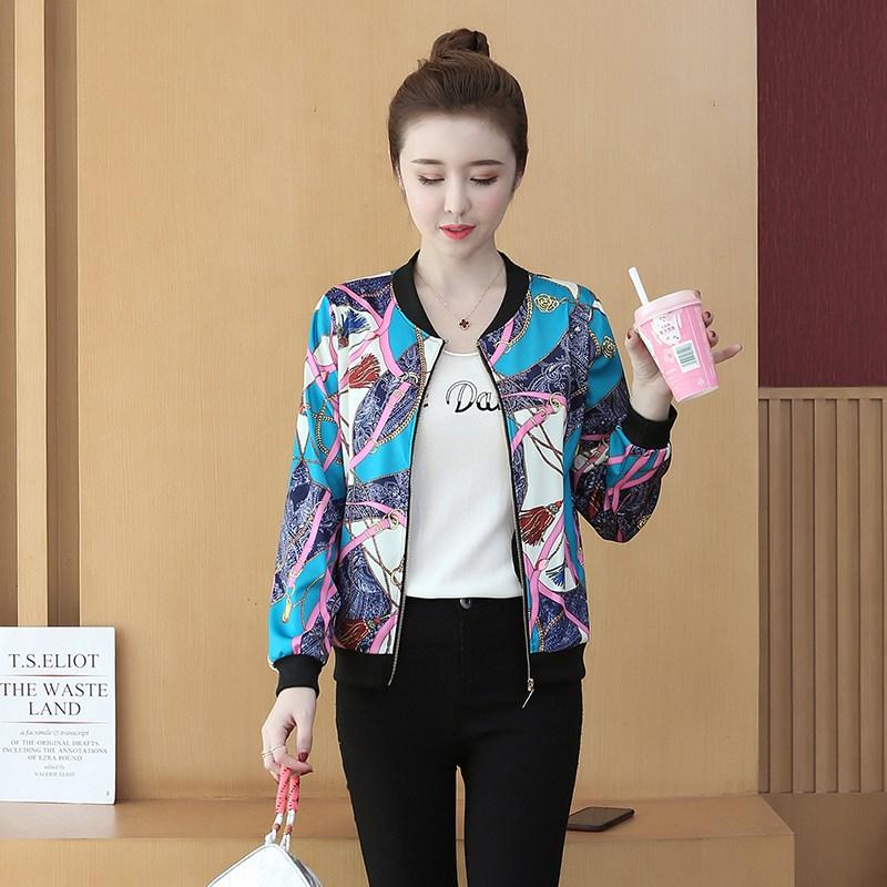 자켓 짧은타입 야구 의류여성 옷긴소매 봄가을 뉴타입 캐주얼 야구유니폼 카디건 코디하기쉬운 슬림핏 프린팅 재킷 외투