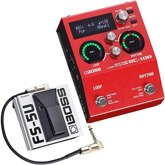 보스 RC-10R 리듬 루프 스테이션 + FS-5U 풋 페달 + 드럼 패치 케이블 30cm를 유지