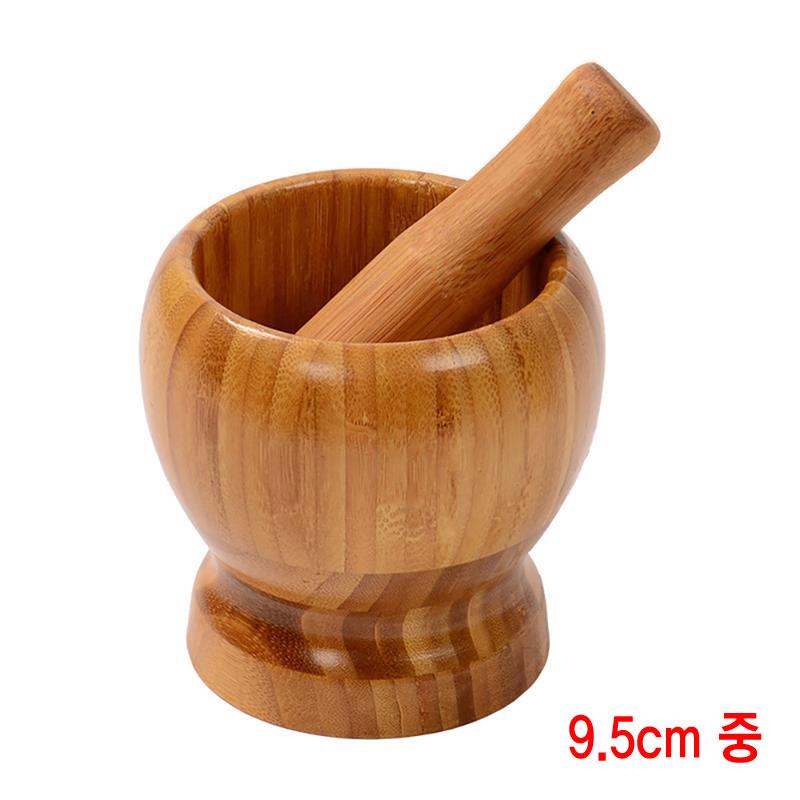 와이지알씨 대나무 우드 막자사발 세트 9.5cm 중 약사발 알약 가루 유봉 유발, 1세트 (POP 1429804236)