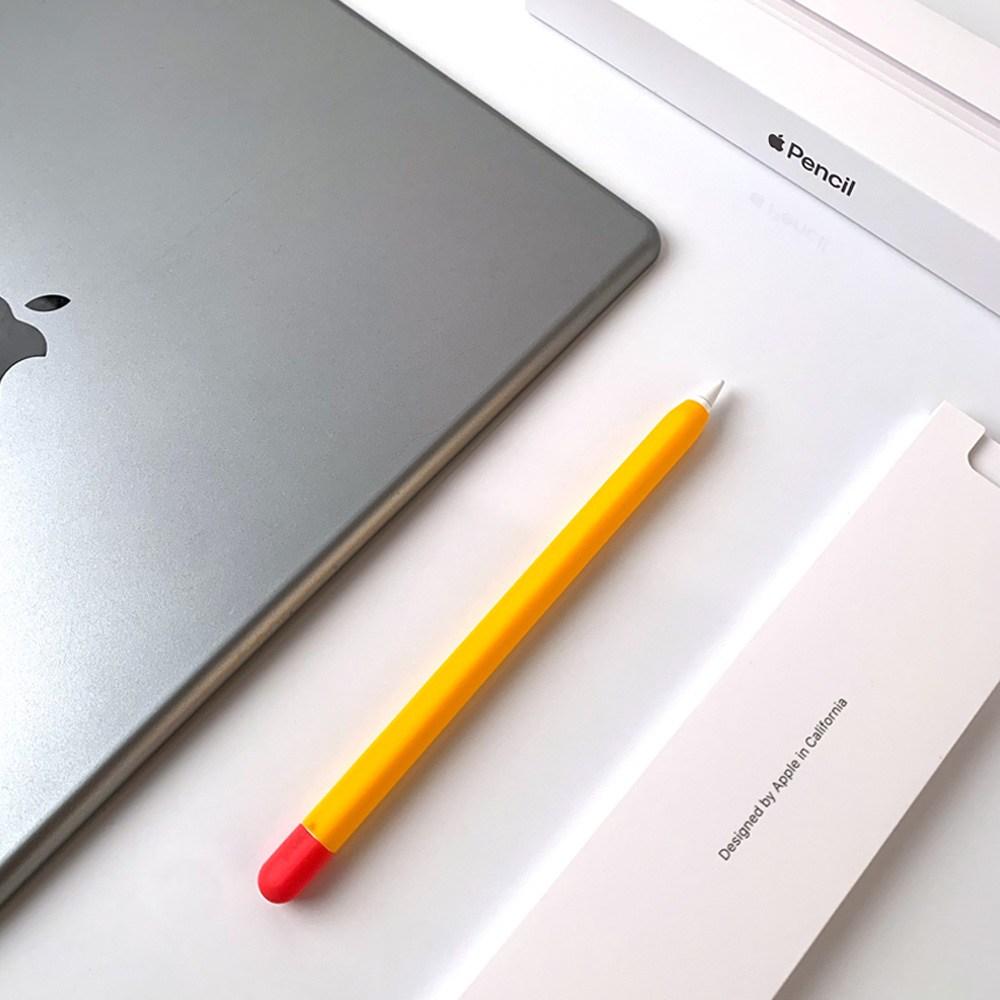 애플펜슬 1세대 무선충전 가능 실리콘 투톤 슬림 케이스, 1개, 애플펜슬 1세대 - 오렌지
