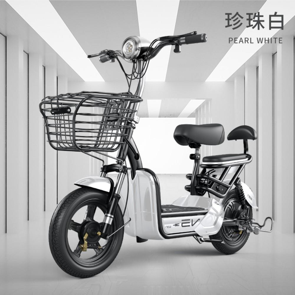 전기 자전거 오토바이 소형 자전차 남녀 2인승, 화이트+14A에너지납산전지+주행거리65KM + 48V, 상세페이지 참고 (POP 5070836085)