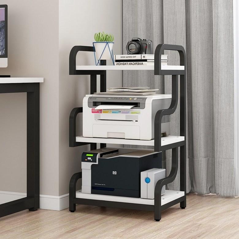 프린터거치대 받침대 테이블 선반 복합기 탁상형 2단 3단 4단 진열장 정리대, 3 층 우유 화이트 블랙