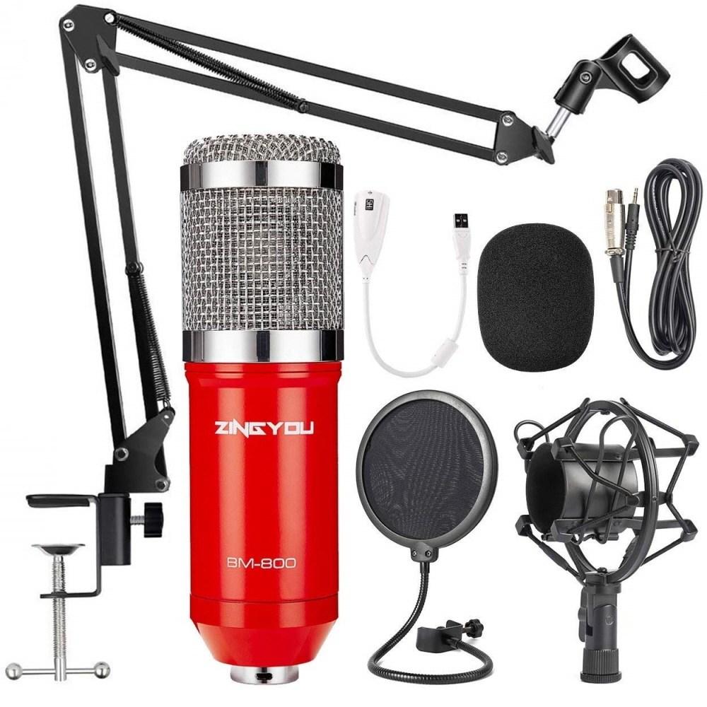 ZINGYOU BM-800 Mic Kit Red 개인방송마이크 ASMR 유튜버마이크