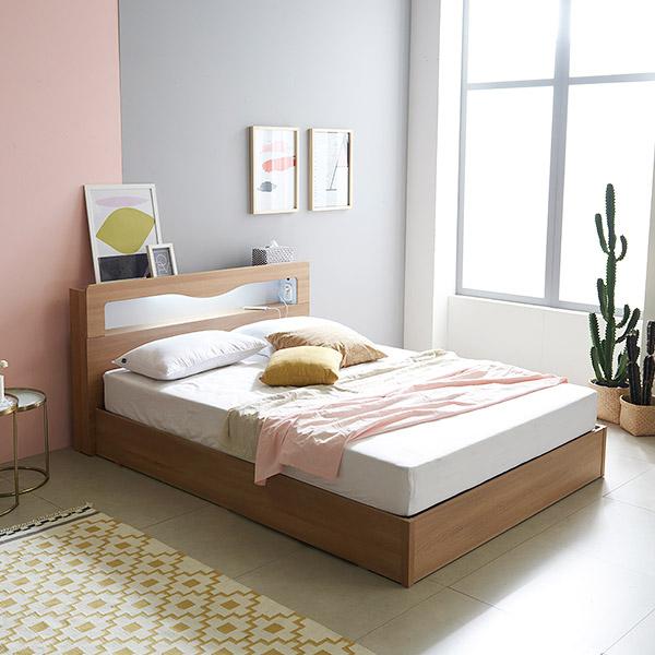 삼익가구 로이 슈퍼싱글/퀸 LED 침대 + 본넬 매트리스 포함, 내츄럴오크