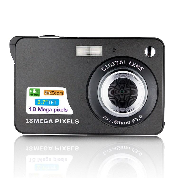 [해외직구] DC5100 2.7인치 8배율줌 1800만호소 디지털 카메라 (32GB 메모리 카드+리더기 증정) 디지털카메라, 블랙