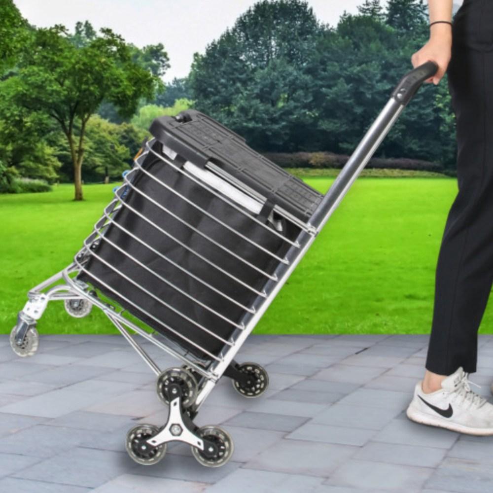 지니고 특대형 접이식 시장 마트 손수레 쇼핑 핸드 카트 대용량 장바구니 캐리어, 대형카트-한바퀴형 (POP 5718215615)
