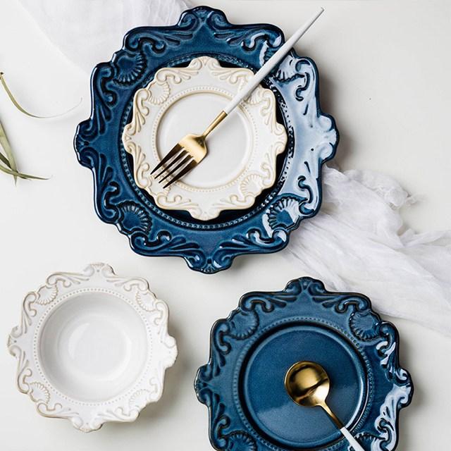 수입 명품 예쁜그릇세트 유럽풍 도자기그릇 플레이팅 접시세트, 블루세트