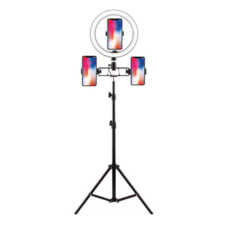 LED 링라이트 삼각대 조명 세트, 26cm링라이트+160cm삼각대+휴대폰거치대(내외)x3