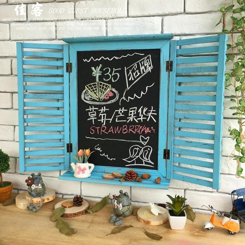 홈카페 홈포차 유럽 미국 복고풍 바 커피 숍 장식 나무 칠판, 갈고리가없는 블라인드