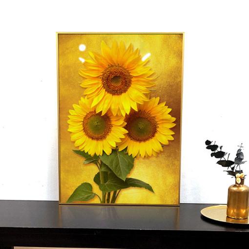 이나코리아 3송이 해바라기 그림 액자 인테리어 소품 집들이 개업 선물 거실 식물 포스터, [A3]30x42cm