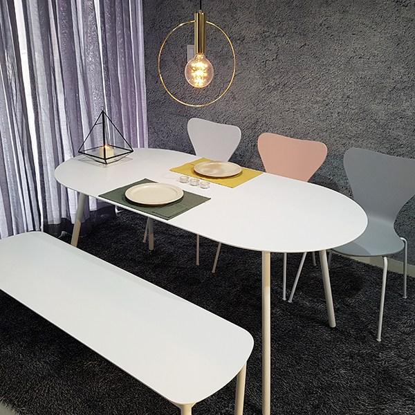 라움 화이트 원형 식탁 타원형 라운드 테이블 2인 4인 6인 8인 벤치 의자, 화이트타원형1600