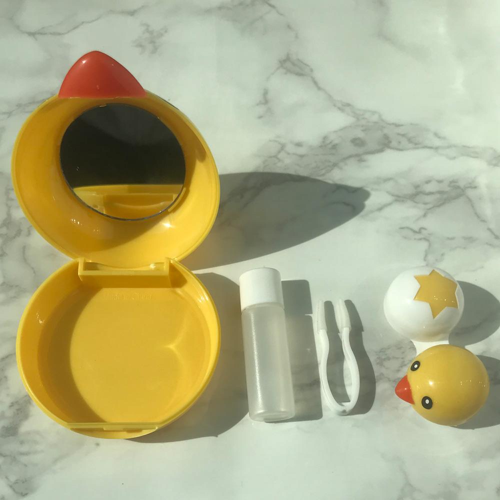 소프트 오렌즈 캐릭터 컬러 콘택트 거울달린 아큐브 하드렌즈 케이스 세트 병아리 !Lzus, 1개