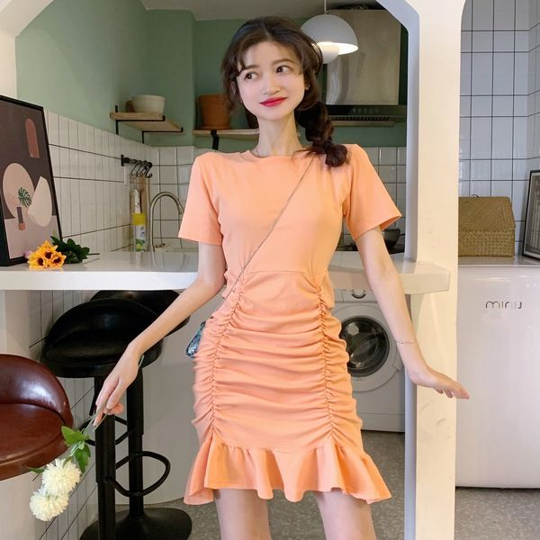여자 민무늬 기본 슬림핏 셔링 미니 원피스 꾸안꾸