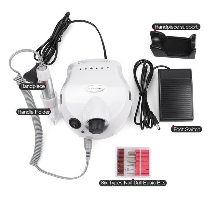 네일 드릴 세트 네일 드릴 머신 35000rpm 전기 매니큐어 네일 드릴 비트 세트, 협동사, 하얀색, 미국 플러그