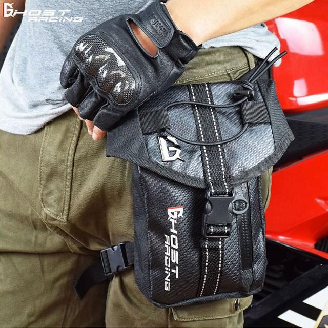 오토바이 라이딩 카본 방수 레그백 힙색 레그색 가방, 블랙