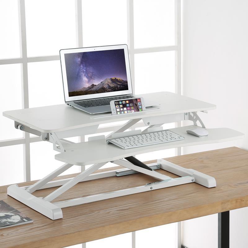 스탠딩책상 일어서기 이동 필기노트 테이블식 사무실테이블 접이식 높이조절 컴퓨터책상 작업테이블 테이블대, T02-DWS06표준판 화이트 더블층 럭셔리스타일