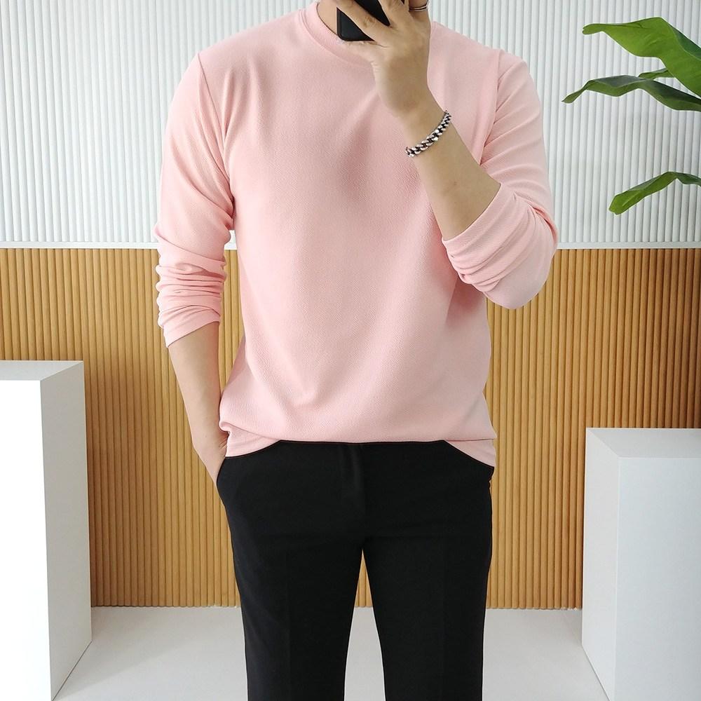 남자 사계절 무지 라운드 스판 레이어드 긴팔티셔츠
