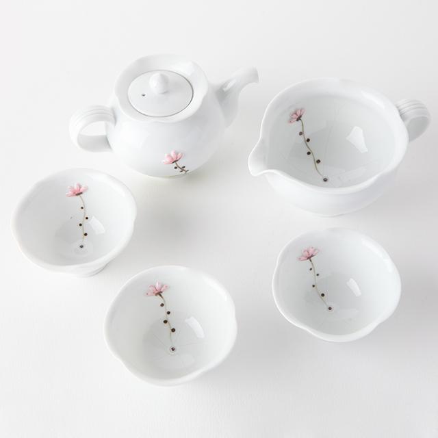 이천도자기 명성도예 백자 연꽃잎 3인 다기세트, 1세트