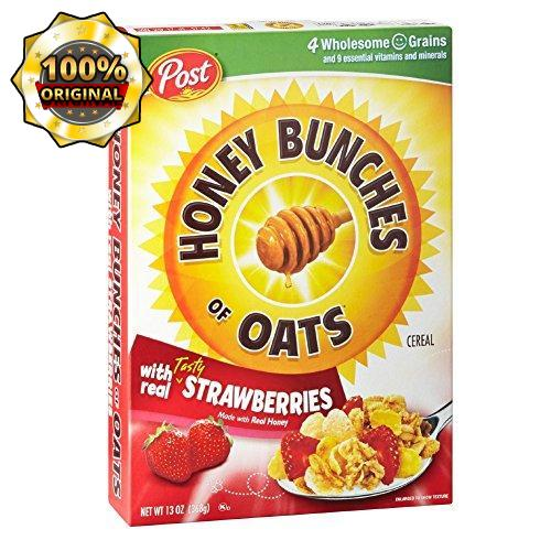 Post Honey Bunches of Oats Portable Cereal cup, Strawberry, 13 Ounce, Pack of 12