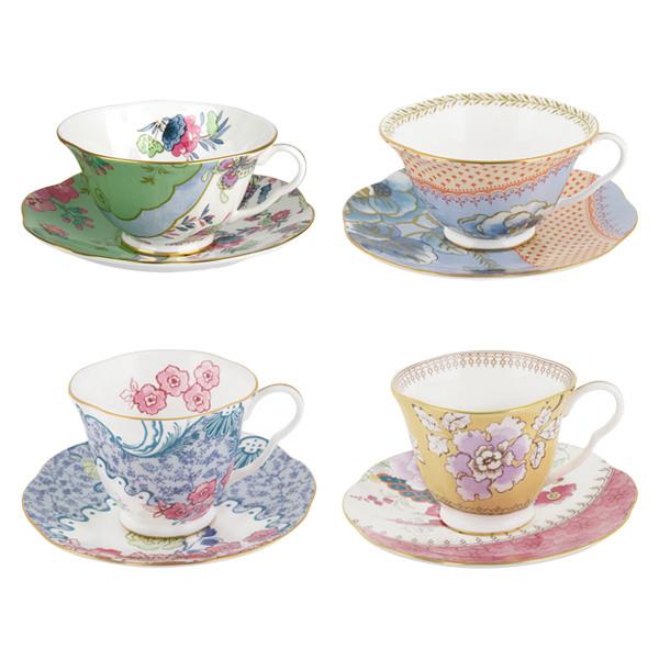 [웨지우드] 버터플라이블룸 티컵&소서 (선택1), 상세 설명 참조, 단품무늬:핑크&블루