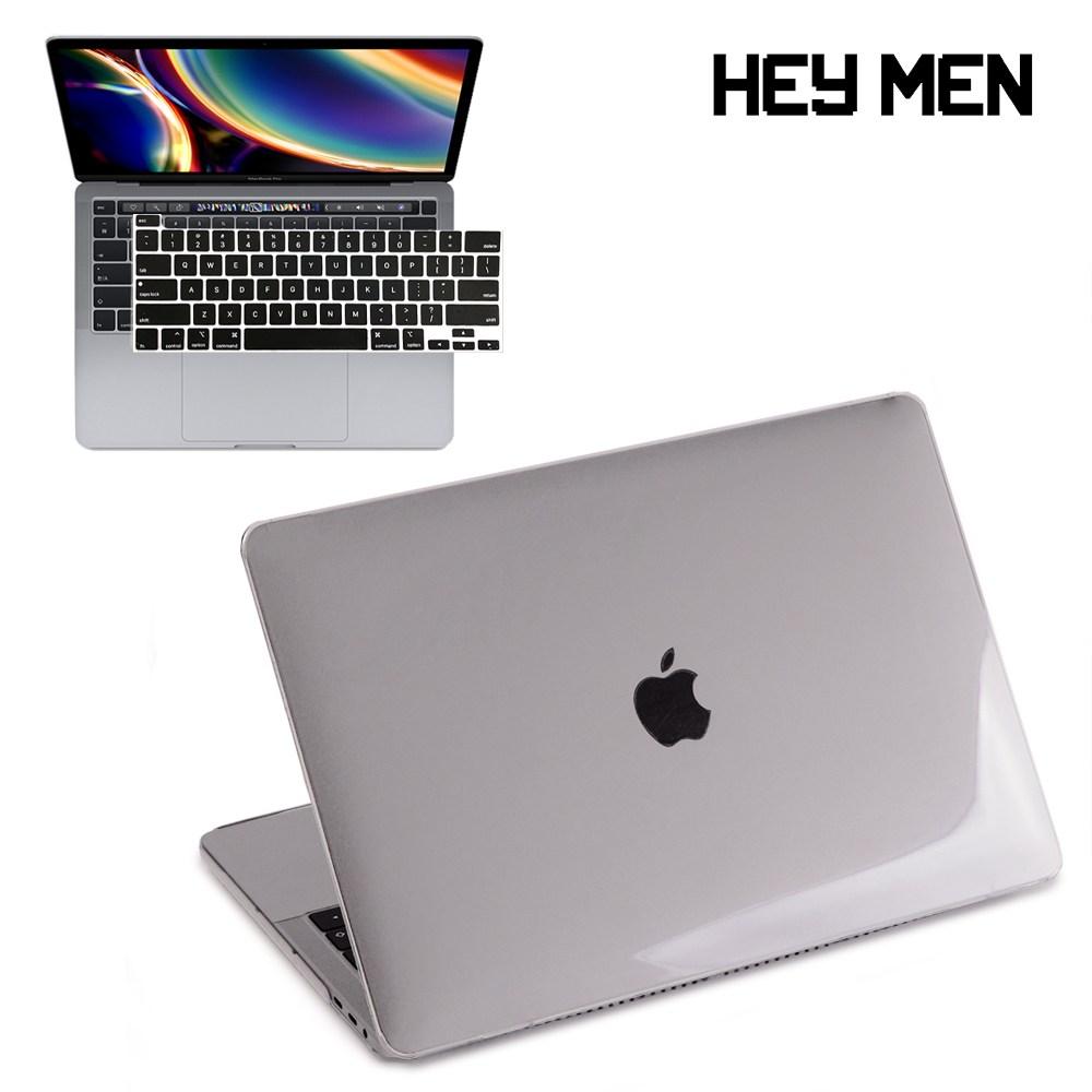 헤이맨 맥북프로 M1 13인치 2020 A2338 A2251 A2289 투명 하드 케이스 + 키보드 스킨, 투명 케이스 + 블랙 키스킨