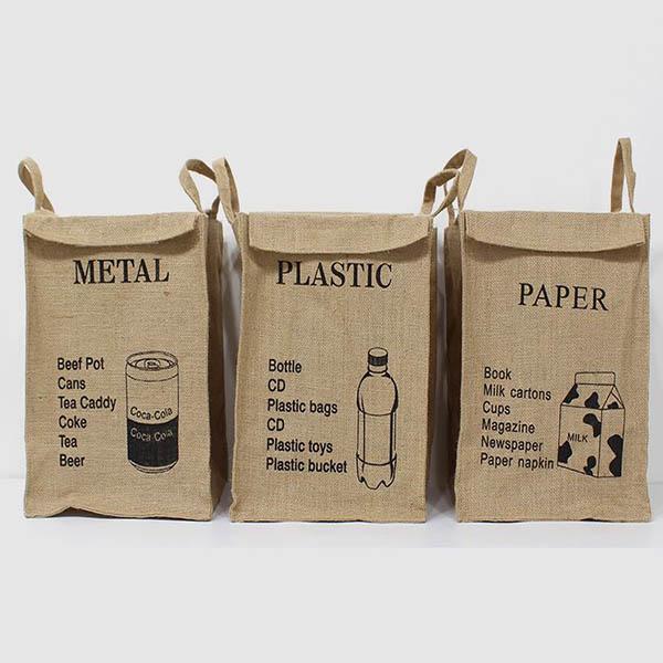 친환경 빈티지 재활용 분리수거함 황마재질 내부특수코팅처리 방수기능, 1개, 플라스틱(PLASTIC)