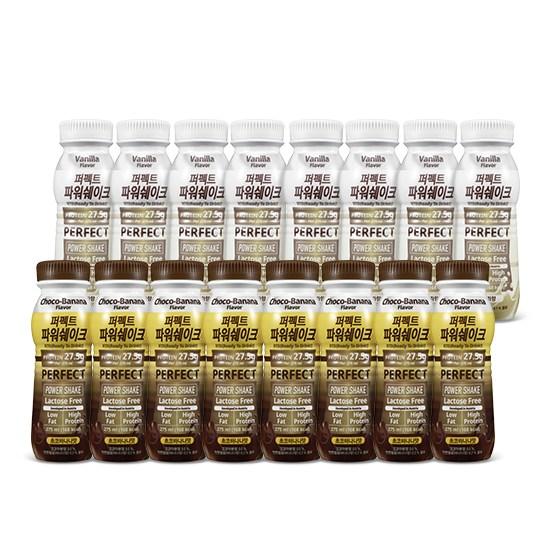 칼로바이 퍼펙트파워쉐이크 27.5g 헬스 단백질보충제 프로틴음료 초코바나나8개입+바닐라8개입, 2set, 275ml