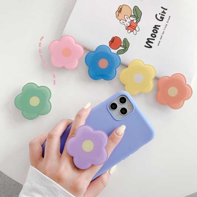 꽃 에폭시 스마트톡 핑거그립톡 핸드폰거치대, 핑크