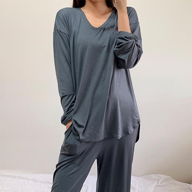 오네뜨비 모달 잠옷 9부 긴팔 세트 라운지웨어 마약잠옷