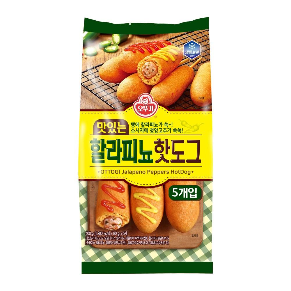 [퀴클리몰] 오뚜기 맛있는 할라피뇨 핫도그 400g, 1개