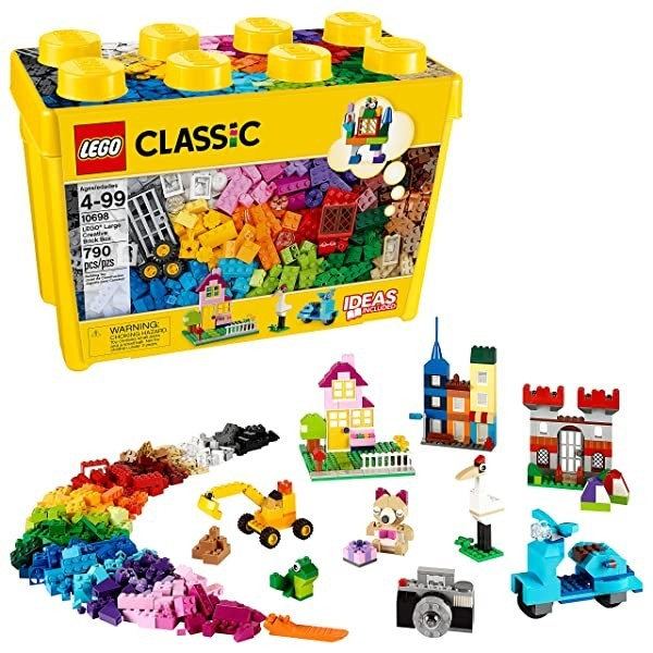 LEGO Classic Large Creative Brick Box 10698 Build Your Own Creative Toys Kids Building Kit (790 Pie, 14.57 x 10.31 x 7.09 Inches