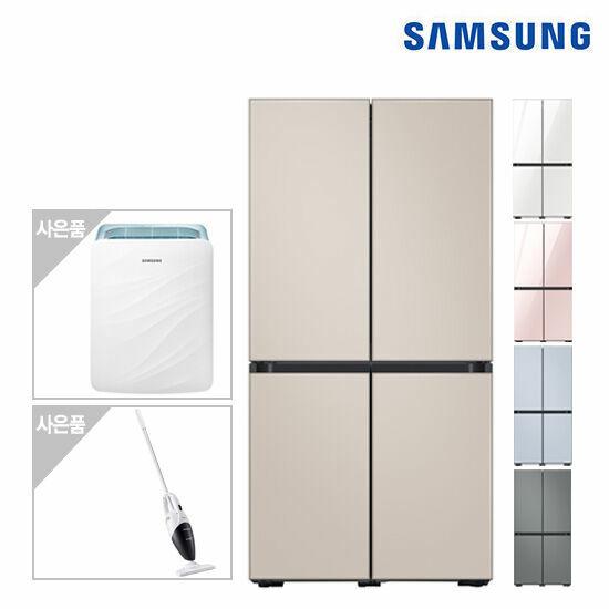 삼성 비스포크 냉장고 4도어(글라스) RF85T9003AP+삼성공기청정기+청소기, 색상:글램화이트