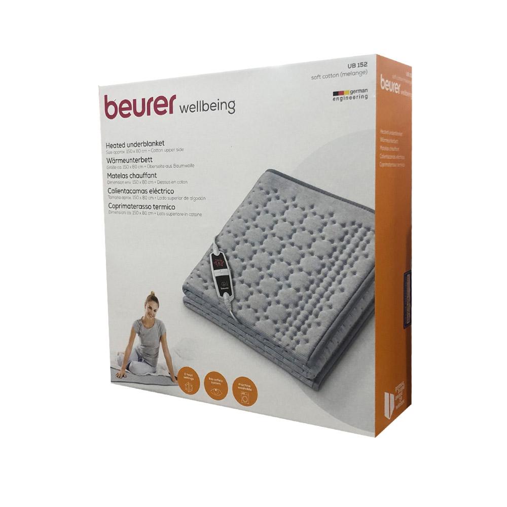BEURER 보이로 1인용 전기매트 150X80CM UB152 멜란지 전기요, 블루