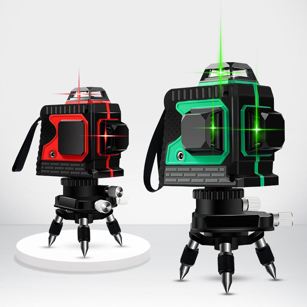 레이저레벨기 3D 360도 레이저 자동 수평기 측정기, 레드 12라인