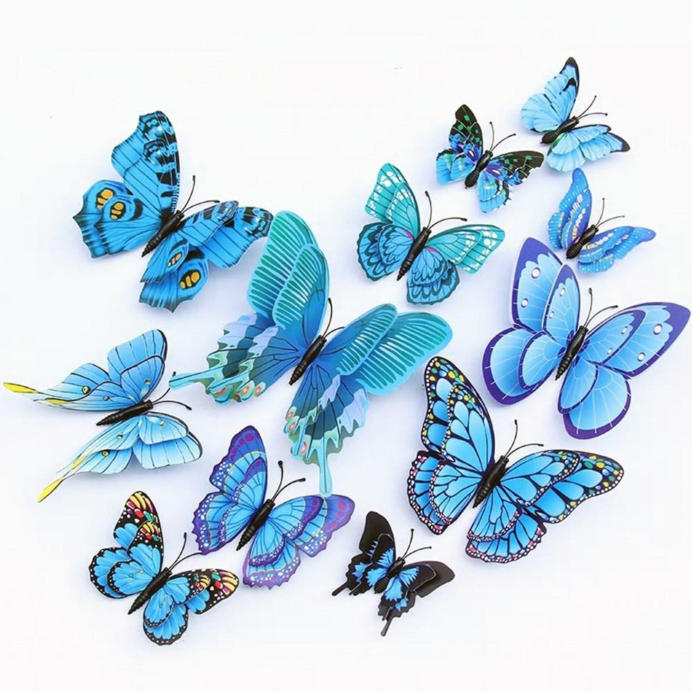 3D 겹날개 입체 나비 데코 스티커 12개 1세트 블루