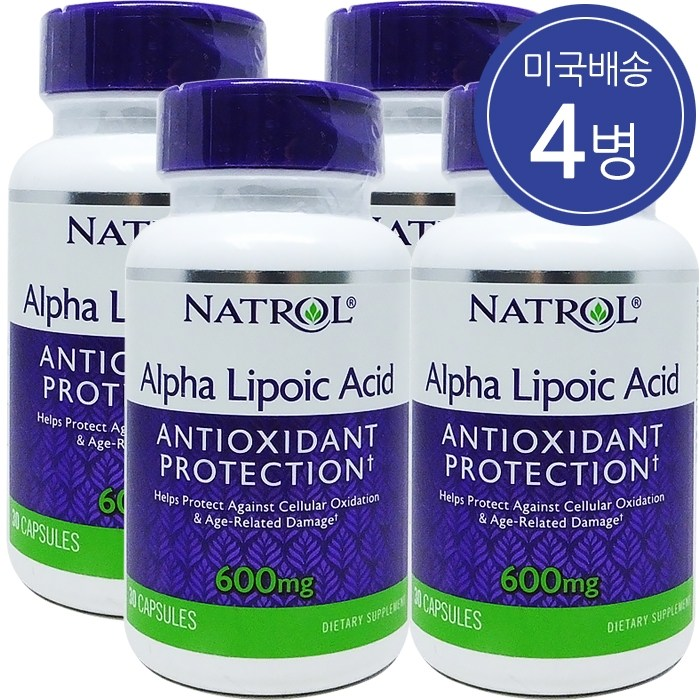 Natrol 나트롤 알파리포산 600mg 30 캡슐 4병, 30정