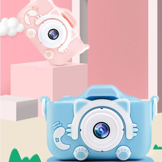 [유쉬터] 디지털 2500만 화소 고양이발 어린이 선물 미니 카메라 디지털카메라, 32G핑크