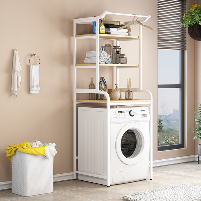 TMS세탁기 선반 스탠드 베란다 드럼식 범용욕실다목적, 옵션 01화이트+단풍나무색