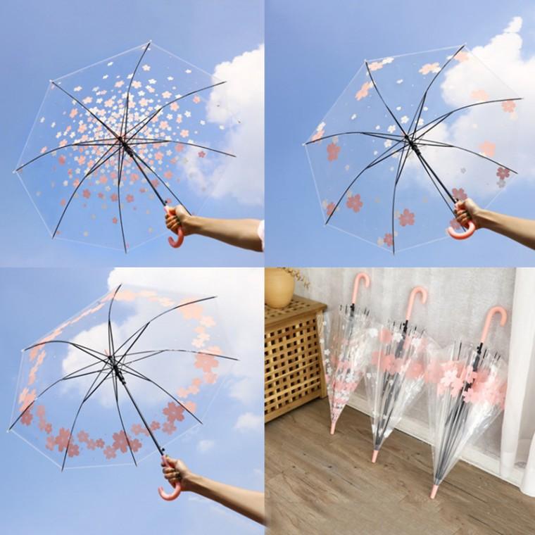우산 패션스트레이트 핸들 우산 투명한 귀여운 학생
