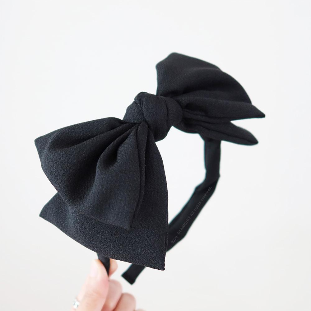 리본 머리띠 블랙 성인용 여성 와이어 왕리본헤어밴드