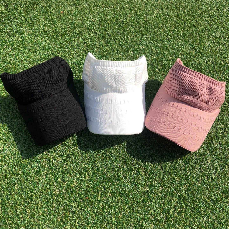 로로얼로이 골프 여성용 쫀쫀한 니트 썬캡 모자, 핑크