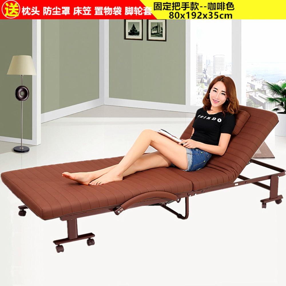 가정용 접이식 이동식 침대 싱글 더블 침대 고시원 사무실 간이 휴식 침대, 고정 핸들 80x190 갈색