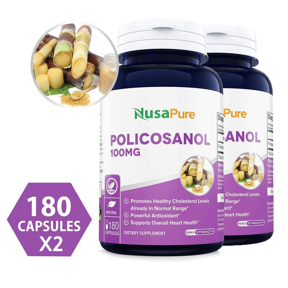 폴리코사놀 100mg 대사기능 낮은 콜레스테롤 지원 180 캡슐 x2, 1개