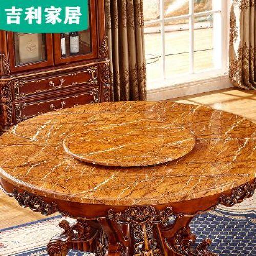 타원형 세라믹식탁 원형 6인용 이케아 미국식 대리석 전실목 조각 식탁 유럽식 원형 식탁의자 한 테이블의자 여섯 의자 조합, 01 1.3m 원탁(목면)